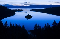 Emerald Bay is illuminated at dawn in Lake Tahoe, CA.