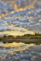 Sunrise on Deschutes River at Dillon Falls in autumn, Cnear city of Bend,Central Oregon,USA