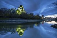 Okayama Castle at dusk, Okayama, Okayama Prefecture, Japan, Asia, Photo by Ian Trower