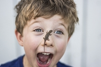 Astonished toddler boy with Sagebrush lizard on nose in Chico, California. Photo by James + Courtney Forte