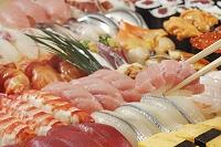 Hand-rolled nigiri and maki sushi (detail)