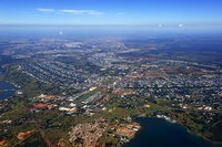 Retort city of Brasilia, build in the shape of an aircraft by city planner Lucio Costa and architect Oscar Niemeyer, aerial view, Brasilia, Distrito Federal DF, Brazil, South America