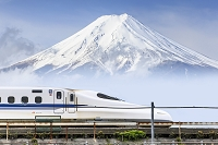 Japan, Chubu, Shinkansen (bullet train) and Mount Fuji in the background, Photo by Maurizio Rellini/SIME