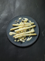 Sou-vide asparagus with potato mushroom risotto and hazelnut sauce