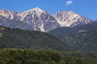 朝の白馬鑓ヶ岳と杓子岳