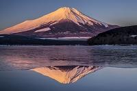 山中湖からの朝焼けの逆さ富士