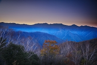 長野県 しらびそ高原の朝と南アルプス