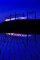 埼玉県 水田と線路のシルエット夜景
