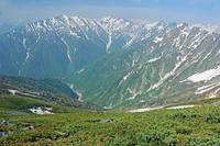 長野県 爺ケ岳から蓮華岳左と針ノ木岳中央の山