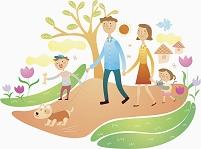 イラスト 散歩をする家族