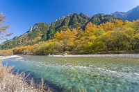 長野県 上高地 梓川と六百山