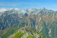 長野県 常念岳山頂から槍ヶ岳右の山遠望