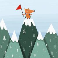 登山をするキツネ