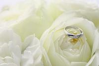 結婚指輪とバラ