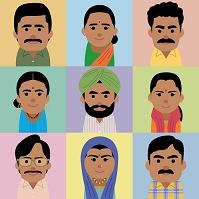 南アジア人男女の集合イラスト