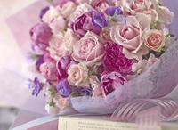 春 花束 ピンク パープル バラ チューリップ