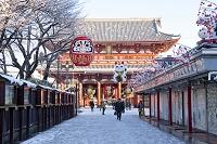 雪の浅草寺 宝蔵門と仲見世