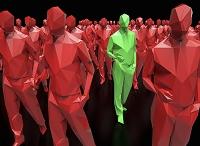 CG 赤の群衆の中で目立つ緑