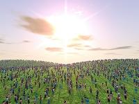 群衆と斜陽の丘