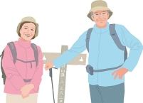 ハイキングをするアクティブシニアカップル