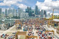 シンガポール コンテナターミナルと高層ビル群