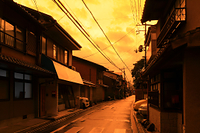 台風19号(2019年)通過時に黄金色に染まった夕焼け
