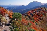 大分県 沓掛山より三俣山と由布岳を望む