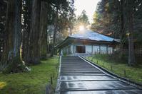岩手県 中尊寺金色堂と太陽光