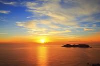 東京都 小笠原諸島 父島 三日月山展望台から望む西島と太平洋に...