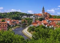 チェコ チェスキー・クルムロフ クルムロフ城と町並み