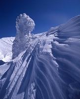 山形県 蔵王温泉 蔵王山頂付近の樹氷とシュカブラ(風雪紋)
