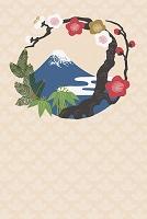 富士山と梅と竹 イラスト