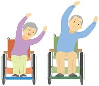 車椅子に乗って体操をするお年寄り