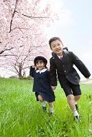 芝生を走る日本人の子供たち
