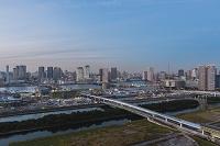 東京都 江東区 豊洲市場建設現場と豊洲、晴海周辺のビル群