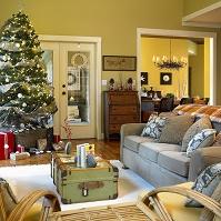 インテリア クリスマス飾りのあるリビング