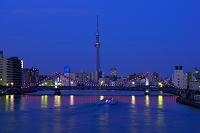 東京都 清洲橋とスカイツリー夜景