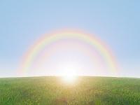 丘と虹と日ざし