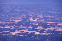 富山県 医王山より望む砺波平野の散居村の朝