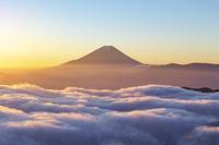 富士山と雲海 富士川町 山梨県