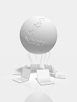 ノートPCと地球のモノクロ