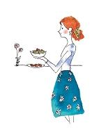 イラスト 料理を作る女性