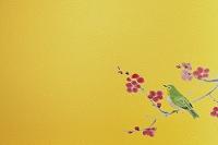 俳画の鶯と金屏風