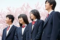 桜と男女学生