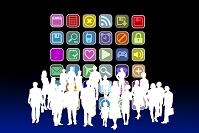 アプリケーションアイコンと人々のシルエット