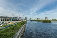 東雲運河と豊洲新市場の建設風景