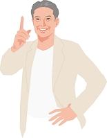 指差しをするアクティブシニアの日本人男性