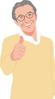 親指を立てるアクティブシニアの男性