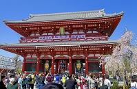 東京都 浅草寺宝蔵門と観光客