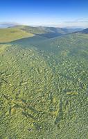 長野県 上田市 美ヶ原牧場と朝霧たなびく王ヶ頭の俯瞰パノラマ